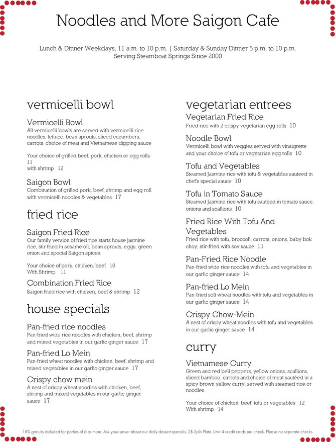 Vermicelli Bowls, Fried Rice, House Specials, Vegetarian Entrees, Curry