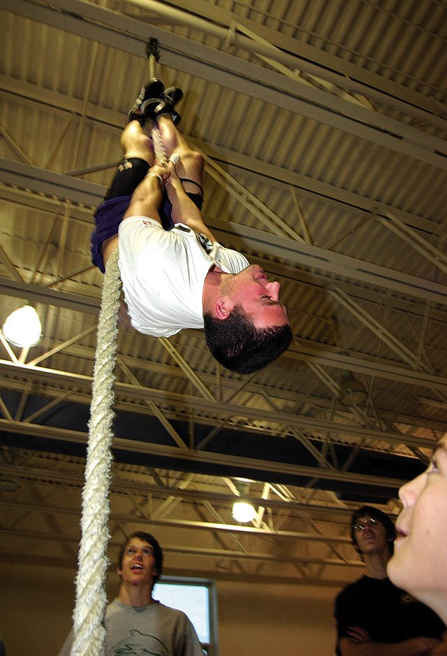 AJ Carmack climbs a rope Wednesday. The Sailors will hold a dual meet against Rangely today will participate in the Carl Ramunno Invitational Tournament on Saturday.