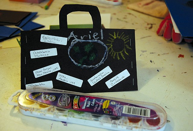 Ariel Palaia's suitcase. Ariel is one of  six children who regularly took part in Virginia Barrett's Art Around the World class at Perry-Mansfield.