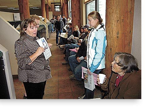 Election judge Joanna Stanko tells voters about the new electronic voting machines while they waited in long lines at the Steamboat Pilot & Today for the Nov. 7 election. Routt County has appointed a citizens review committee to examine what went wrong on Election Day and how to prevent those problems in future elections.