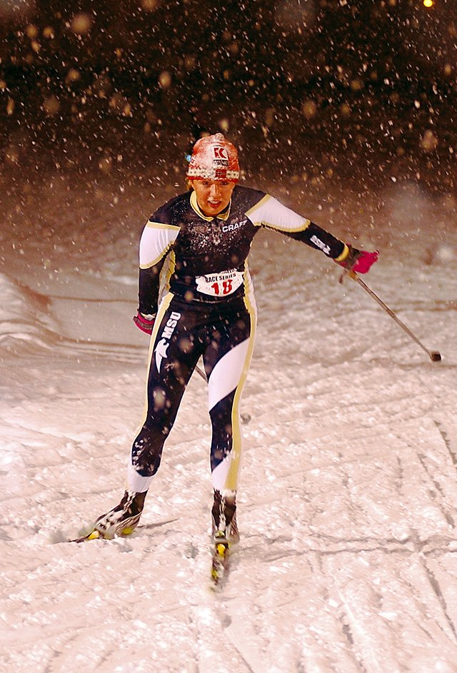 Korie Steitz of Steamboat Springs and Montana State University was the first woman finisher in Wednesday night's Nordic Challenge Criterium ski race at Howelsen Hill. More than 30 skiers pushed through heavy snow in the demanding race.