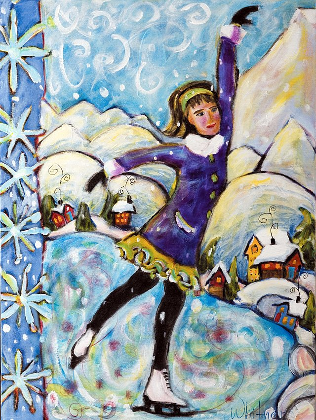 """Ice Skater,"" acrylic painting by Lance Whitner. Her paintings are currently hanging in the Comb Goddess."