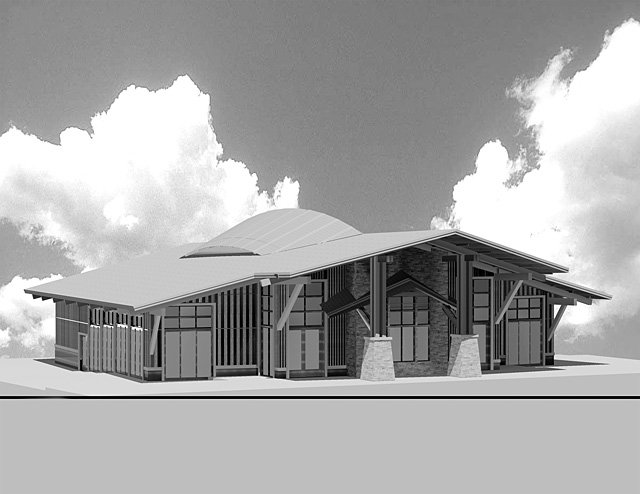 "Preliminary drawings for the new Strings in the Mountains Music Festival pavilion show the roofline created by large ""bowstring trusses"" that would evoke the bridge and strings of a violin or cello."