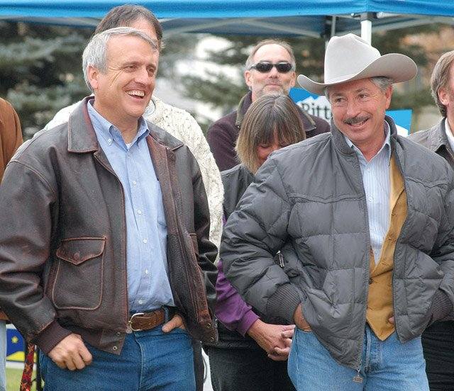 Gov. Bill Ritter visits with residents during the Democratic rally on the Routt County Courthouse lawn prior to the November election.
