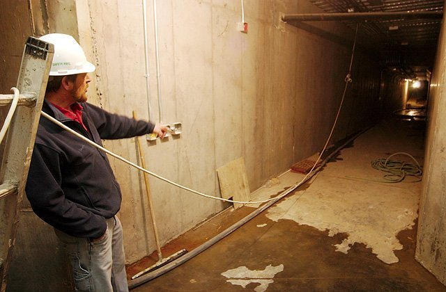 Tim Winter, Routt County's building and plant director, describes how water is leaking into the tunnel that was built to transport inmates from the Routt County Jail to the Routt County Justice Center. County officials consider the leak a minor setback in the construction of the $13.4 million Justice Center.