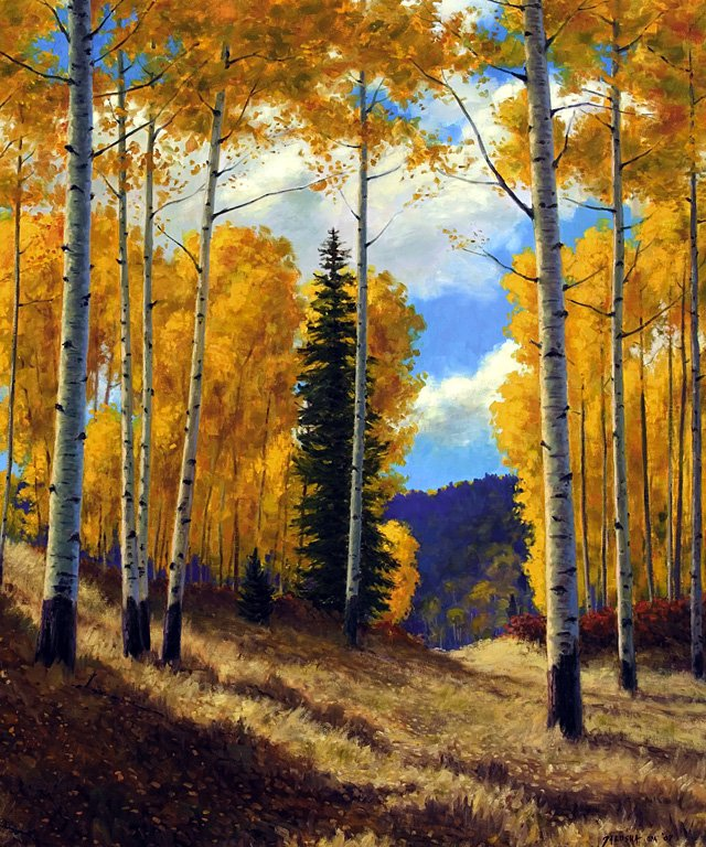 """Mountain Aspen,"" oil painting by Richard Galusha. Galusha will have 35 new paintings at the Wild Horse Gallery of Steamboat Springs. The opening reception is tonight from 5 to 8 p.m. at the Gallery in the Sheraton Steamboat Resort."