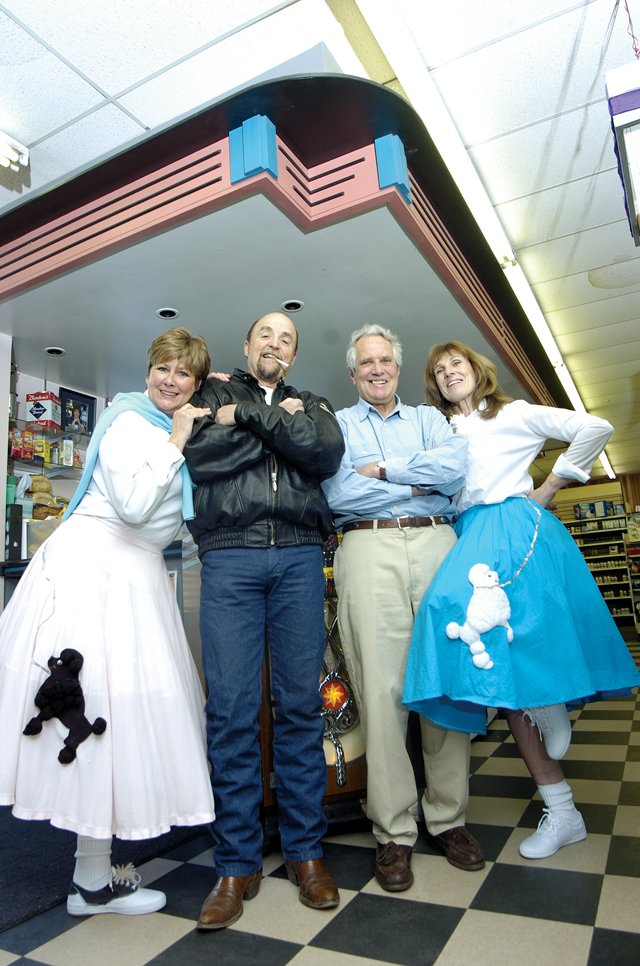 Pictured from left to right is Alice Klauzer, president of Advocates Against Battering and Abuse's board of directors, Bob White, Dan Callahan, board member, and Diane Moore, executive director of Advocates. They are dressed in 1950s attire to get in the spirit of the '50s and '60s dance that begins tonight at the Steamboat Grand Resort Hotel at 7:30 p.m.