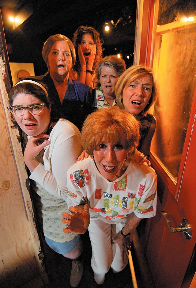 "The women of ""Steel Magnolias"" look out a door with concern during a scene from the  Steamboat Mountain Theater production. Cast members include Truvy ( Eileen Jones), Annelle (Michelle Hess) M'Lynn (Patty Zimmer), Clairee ( Lynda Allen), Ouiser (Leslee Gooch) and Shelby (Chrissie Hodges)."