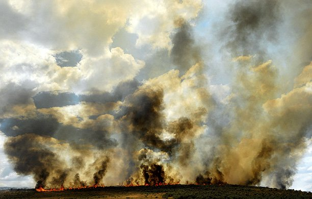 A fire on Moffat County Road 15 burned 35 acres of private land Tuesday afternoon. It was the third fire in three days. A fire Monday burned 20 acres near Elkhead Reservoir. Fire officials are warning homeowners and landowners to be aware of smoke and fire, since the fire danger continues to be high.