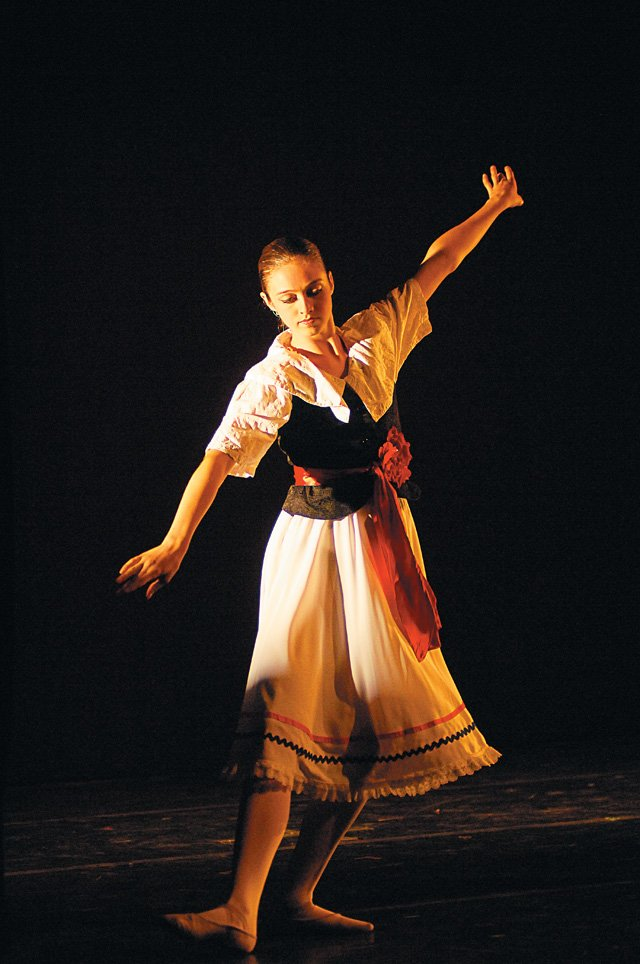 "Dancer Nina Kuntz performs a dance in the first act during a dress rehearsal of the Perry-Mansfield production of ""Youth Festival."" The dancers, and actors will be back on stage at 7:30 p.m. today at the Julie Harris Theater."