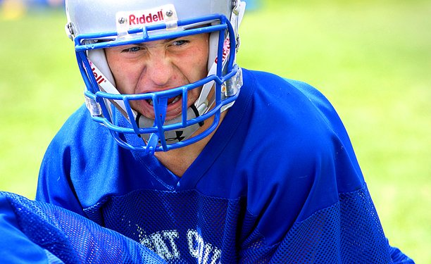 Andrew Drake, shown at a Bulldog football practice last year, is preparing himself for college football. He is attempting to make the Sterling College team in Kansas.