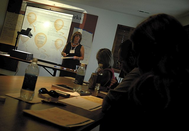 Sandy Beran, of Reaching Everyone Preventing Suicide, conducts a training class Monday at Yampa River State Park Visitor Center for residents learning to be suicide counselors. The class, which continues today, is designed to combat a growing problem of suicide in  Moffat and Routt counties.