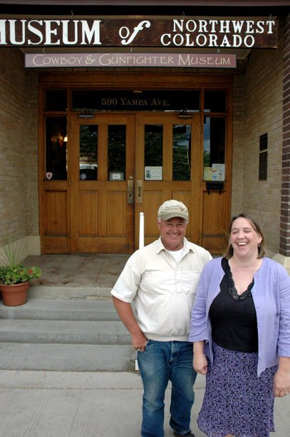 Mike Crackel, left, and Tammie Thompson-Booker stand in front of the Moffat County Museum of Northwest Colorado following their election to vice-chair and chair of the Moffat County Tourism Association Board of Directors.