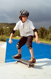Zach Rosa, 10, rides his skateboard outdoors at the Howelsen Skate Park in Steamboat Springs on Wednesday afternoon.  The City Council has not yet ruled out the option of building new facilities at Howelsen Hill and Old Town Hot Springs instead of a consolidated facility at Ski Town Fields.