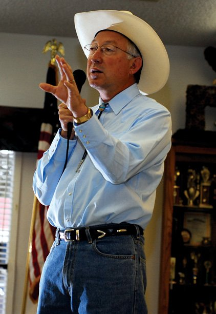 U.S. Sen. Ken Salazar addresses the crowd at the Craig Veterans of Foreign Wars headquarters Thursday morning. Those in attendance were mostly veterans, who came to hear the senator speak on veterans' issues on the national level.