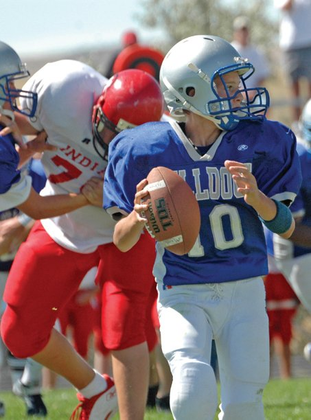 Freshman quarterback Zach Raftopolous drops back to pass against Montrose High School. The Bulldogs lost to the Indians, 47-0.