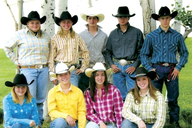 Pictured is the Moffat County High School Rodeo team. Back row, from left, are Hanna Hegwer, Taylor Vernon, Troy Vernon, Eric Fleming and Matt Bohrer. Front row, from left, are Bryanne Runnion, Gabby Miller, Jessi Moser and Stevie Brumback.