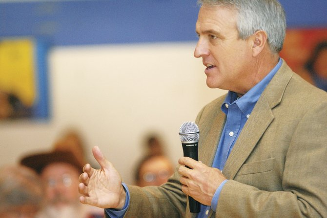 Gov. Bill Ritter speaks to a crowd Friday morning at the Boys & Girls Club of Craig. The governor spoke to a crowd of representatives from Moffat and Routt counties at a town hall meeting.