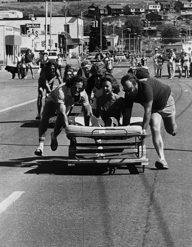 "For much of its 100 years, the Steamboat Chamber has supported local events of all kinds - including this 1983 ""Bed Race"" on Lincoln Avenue downtown."