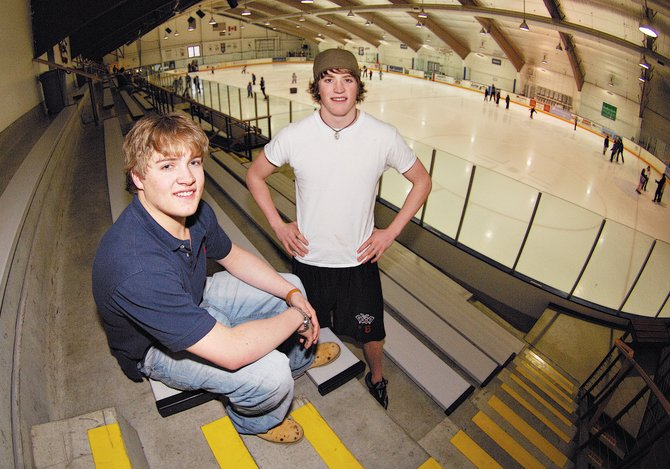 Jim Terry, left, and Jake Stanford are playing hockey in the Northern Pacific Hockey League, which is a Junior A Tier III league.  Both players hope the competitive league will help them move on to college scholarships.