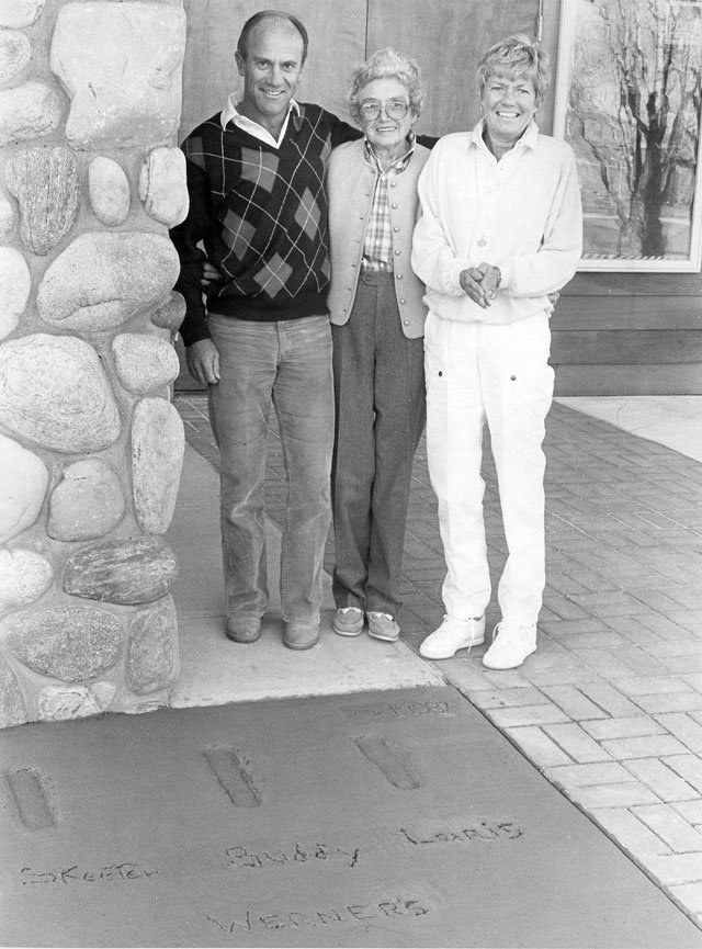 Loris Werner posed with his late mother, Hazie, and late sister, Skeeter Werner Walker, in a photograph made in front of the Bud Werner Memorial Library in 1987.