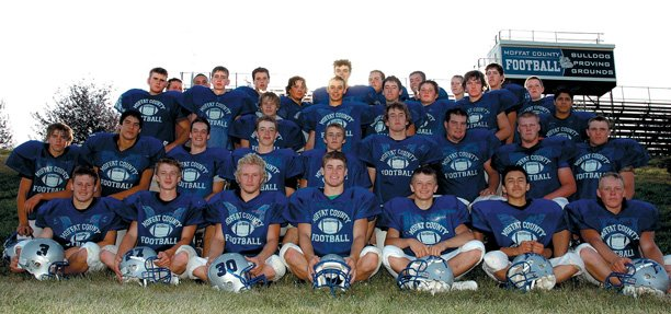 Some of the players who participated on the 2007 Moffat County High School football team include, in the front row from left, Matt Kincheloe, Tyler Roach, Drew Turner, Jake Bricker, Luke Terrill, Alex Villagrana, Robert Daniels; second row from left, Aaron Nielsen, Ethan Robinson, Paul Nelson, Todd Stewart, Craig Gearhart, Austin Hill, Travis Wilson, J.T. Haddan, Eli Buckner; third row from left, Mike Harry, Matt Linsacum, Mitch Sammons, Sean Hergenreter, Derrick Ferguson, Travis Noland, Brian Ivy, Pablo Salcido; back row from left, Jeremiah Gordon, Lyle Schaffner, Jordan Wilson, Halen Raymond, Colton Conrad, Dillon Guinn, Frank Archuletta, Alex McCoy, Brad Summers and Josh Wilde.