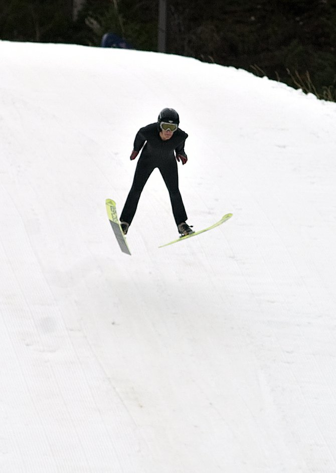 Winter athlete Charlie Stoddard practices his ski jumping Saturday at the Howelsen Hill ski jump, which recently was opened for the season.