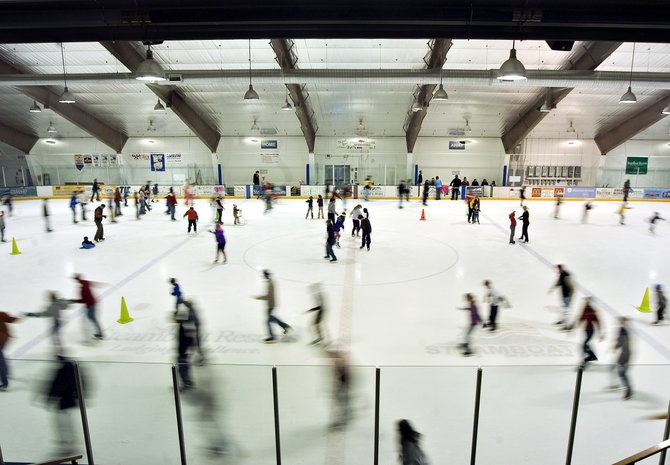 Ice skaters crowd the Howelsen Ice Arena on Friday during an open skating session.