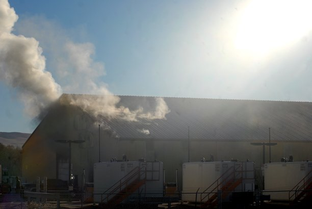 Smoke billowed out of the northeast side of the Road and Bridge Department's County Shop on Saturday afternoon. The fire is believed to have started in the break room due to a failure with an industrial coffee pot. No one was injured in the fire.