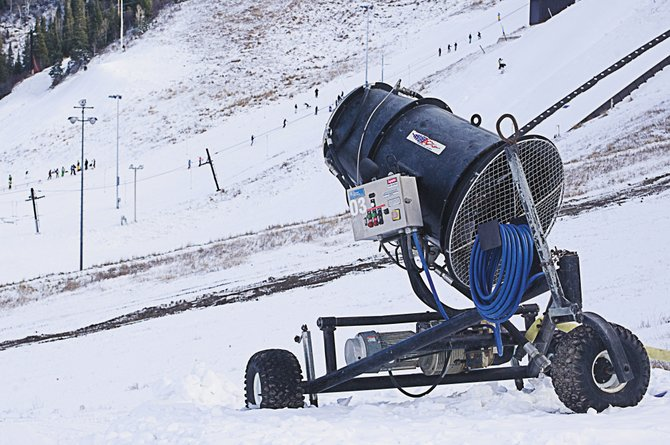 It will be only a matter of time before the big snow guns at Howelsen Hill are cranked up and producing man-made snow again. The guns have been quiet for the past five nights after a driver that controls the pump failed. Despite the break in snowmaking, athletes at the Steamboat Springs Winter Sports Club have been busy taking advantage of the snow crews pumped out before they shut down.