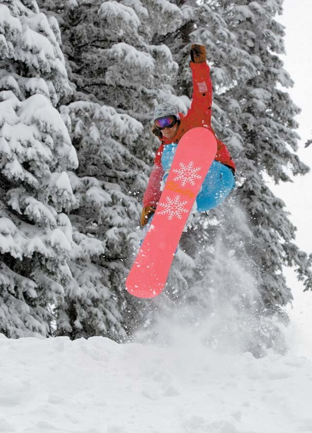 Steamboat local Ashley Berger takes aim at the new snow Friday,. The Steamboat Ski area has received close to a foot of new snow in the past 48 hours. The National Weather Service has issued a winter storm warning until 6 p.m. Saturday for the Steamboat region.