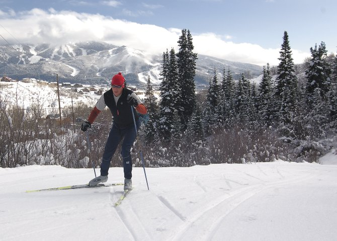 Cross-country skier Steve Dressen climbs a hill along one of the many kilometers of Nordic trails at Howelsen Hill on Wednesday. The Steamboat Springs Planning Commission will meet at 6 p.m. Thursday to discuss Open Space and Trails Master Plan.
