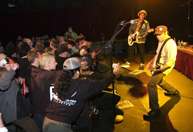 Punk band Agent Orange rocks to a crowded audience pit on stage at the Steamboat Mountain Theater in Steamboat Springs on Thursday night.