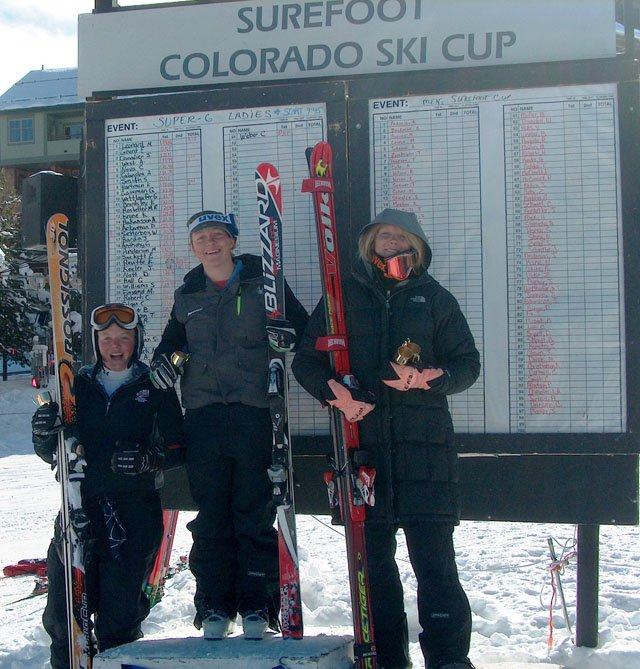 Steamboat's Ann West, middle, won the women's USSA Surefoot Colorado Ski Cup super-G race Sunday at Winter Park ahead of Team Summit's Katie Hartman, right, and Winter Park's Molly Leonard.