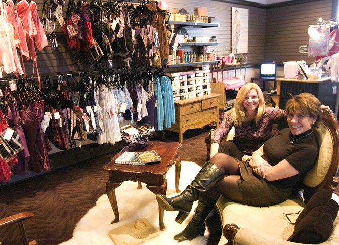 Sweet Potato Lingerie store owner Leslie Faulkner, right, and employee Jamie Buick began welcoming customers into their new shop when its doors opened Tuesday in Steamboat Springs.
