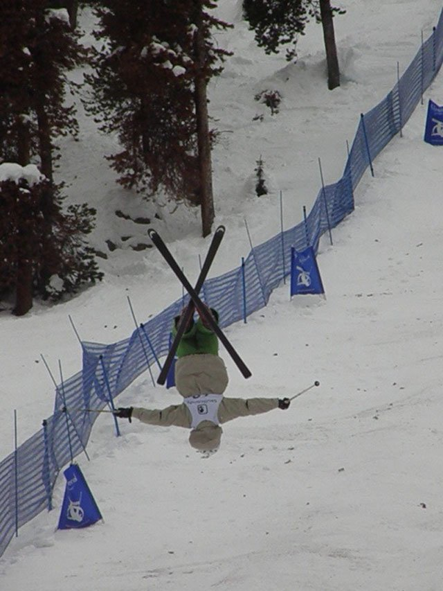 Steamboat Springs Winter Sports Club freestyle skier Lars Johnson, 16, throws a back X on Wednesday in the second single moguls event at the 2007 U.S. Freestyle Selections, in which he finished 50th.