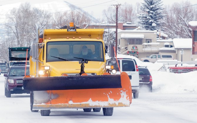 City plow trucks were out moving snow and spreading scoria Wednesday afternoon. Crews have been busy keeping up with a series of winter storms that passed through the area last week. More snow is forecast for later this week in Steamboat.