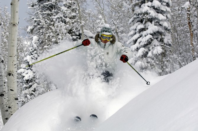 Palmer Hoyt skis Wednesday at Steamboat Ski Area, which has been blanketed by more than four feet of snow in the past week and more than 100 inches of snow in December. Despite the dumps, snowpack in Northwest Colorado is at 84 percent of the December average.