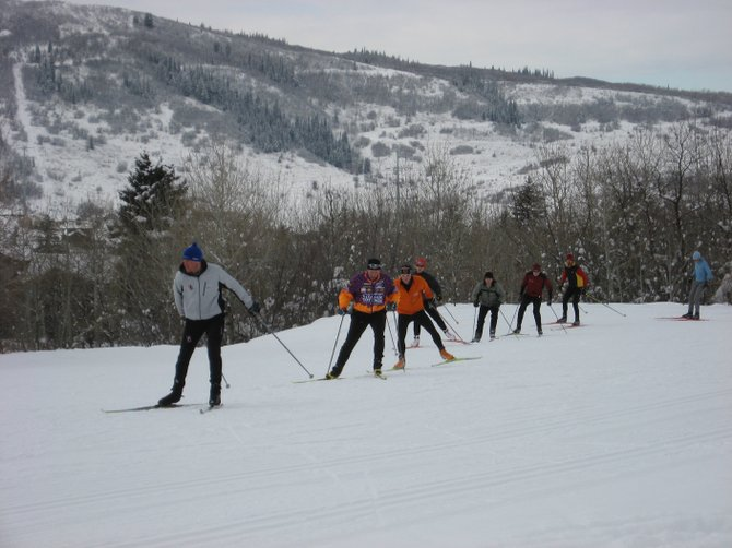Justin Easter leads a group of participants at the Steamboat Nordic Ski Camp, December 16 at the Steamboat Ski Touring Center. Local Nordic racers have a full plate of ski events coming up, starting 10 a.m. Sunday with the annual New Year&#39;s Relay at the Touring Center.