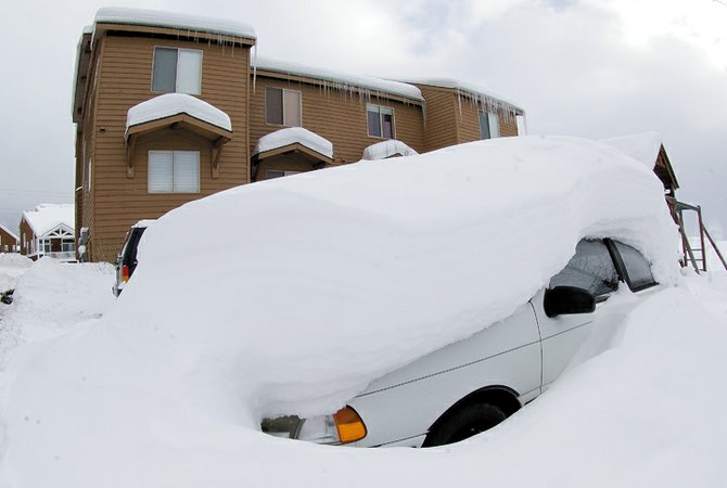 The owner of this car outside the townhomes on Eaglepointe Drive will need a shovel before moving this vehicle. December storms have left Steamboat buried in several feet of snow, thrilling skiers, but maybe not drivers.