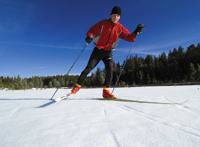 Cross-country skier Kyrill Kretzschmar glides across a meadow at the top of Buffalo Pass earlier this winter. Cross-country skiing is a great way to stay in shape and experience our region's scenic beauty.