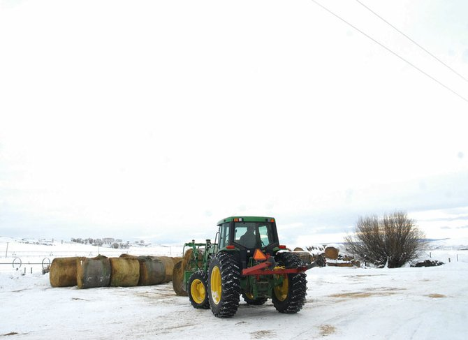 Ronald Lawton loads up some hay early morning Friday at his ranch about 10 miles north of Craig.