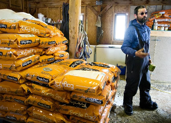 Tom Thurston discusses his dogs' feeding regimen near a huge pallet of dog food bags in a building on his property between Steamboat Springs and Oak Creek on Saturday morning.