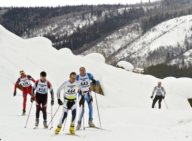 A group of Nordic skiers begins another loop around the course at the Steamboat Ski Touring Center on Saturday morning during the Colorado Cup event.