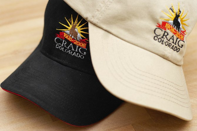 Craig City Hall displays commemorative hats the Craig Centennial Committee ordered late last year. The hats sell for $13 and are available at Craig City Hall, 300 W. Fourth St.; the Craig Chamber of Commerce, 360 E. Victory Way; and the Museum of Northwest Colorado, 590 Yampa Ave.