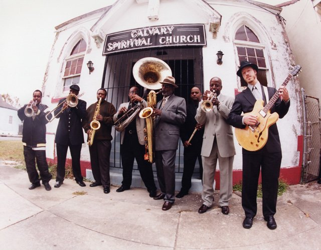 "Dirty Dozen Brass Band, whose blend of funk, second line and jazz music is referred to by saxophonist Roger Lewis as ""a musical gumbo,"" plays Sunday at the Steamboat Music Festival Tent in the Knoll Parking Lot."