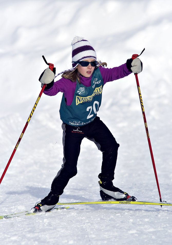 Cross-country skier Claire Cohen makes her way through the course at Howelsen Hill on Saturday afternoon during the Rocky Mountain Division junior ski jumping and Nordic combined competition.
