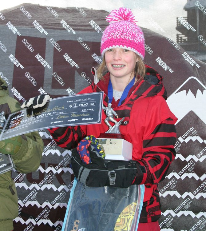 Steamboat Springs' Madeline Schaffrick won the Burton AM Series women's halfpipe contest Sunday in Copper Mountain.