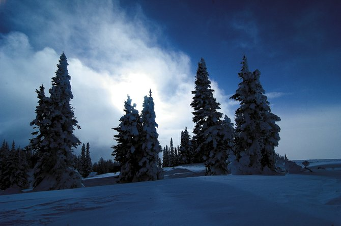 "The sun sets Wednesday behind trees at the top of the Storm Peak lift at Steamboat Ski Area.  The Tuesday death of a Pennsylvania man at the ski resort highlights the hidden dangers of unpacked snow surrounding trees - hazardous areas known as ""tree wells."""