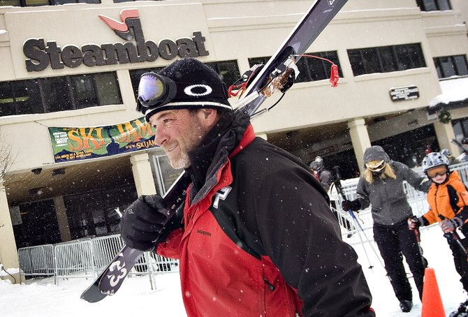 Ski patrol supervisor Duncan Draper makes his way back to the sl